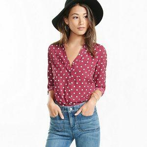 Express Polka Dot Button Down Shirt